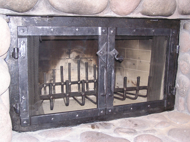 Fireplace forged ceramic glassFireplaces   Ira Houseweart MetalWorks  LLC. Custom Wrought Iron Fireplace Screens. Home Design Ideas